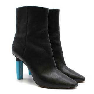 Vetements Black Leather Highlighter Ankle Boots