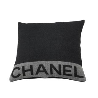 NEW Chanel Grey Wool & Cashmere Square Cushion