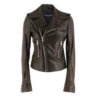 Balenciaga Brown Asymmetric Leather Jacket