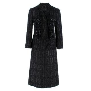 Simone Rocha Crystal-Embroidered Black Tweed Coat & Skirt