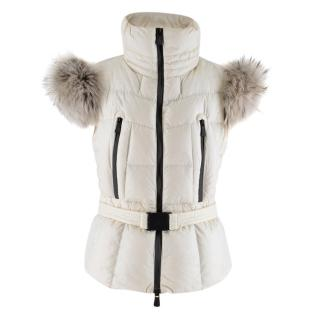 Moncler White Padded Gilet with Fur Trim