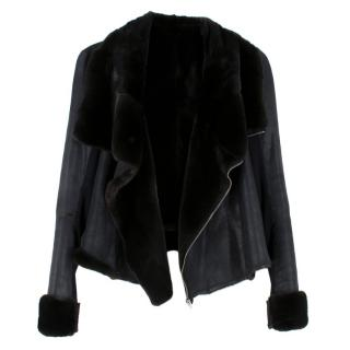 Rick Owens Hun Collection Black Double Faced Mink Fur Jacket