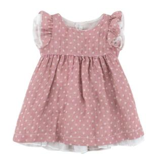 Il Gufo Girls 9m Pink Polka Dot Linen Dress