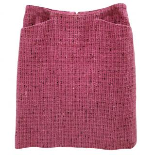 Chanel Boutique Raspberry Tweed Wool Skirt
