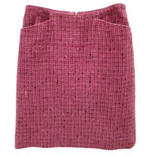 Chanel Boutique Raspberry Tweed Wool Skirt