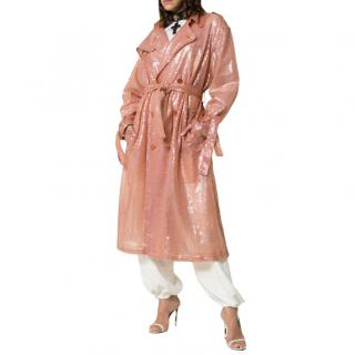 Ashish Pink Belted Sequin Trench Coat