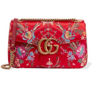 Gucci Red Satin Floral Jacquard Marmont Shoulder Bag