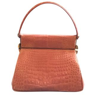 Dior Pink Crocodile Top Handle Bag