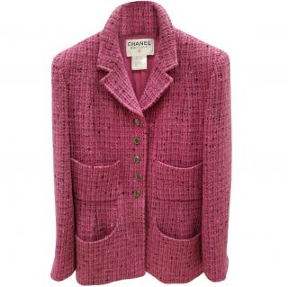 Chanel Raspberry Pink Tweed Wool Jacket