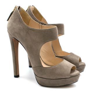 Prada Taupe Suede Double Strap Platform Sandals