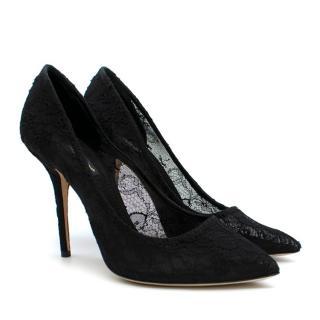 Dolce & Gabbana Black Lace Court Pumps