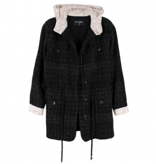 Chanel Black Metallic Tweed Jacket With Ivory Hood & Cuffs