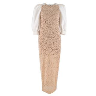 Alessandra Rich Nude Floral Lace Dress w/ Puff Sleeves