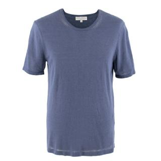 Gieves & Hawkes Blue Linen-Cotton Blend T-Shirt