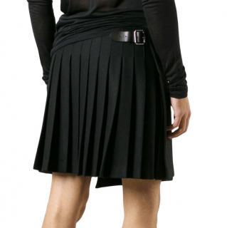 Alexander McQueen Black Pleated Wool Kilt