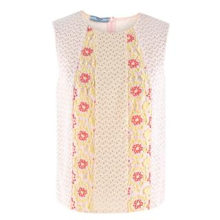 Prada Pink Eyelet Floral Embroidered Sleeveless Top