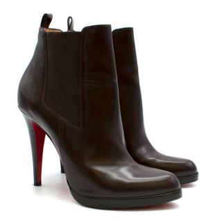 Christian Louboutin Dark Brown Leather Heeled Boots