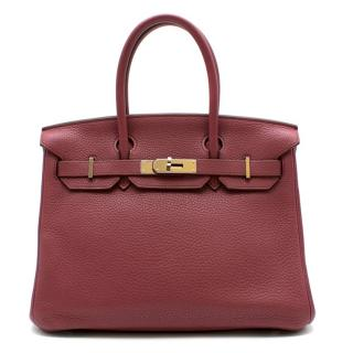 Hermes Boise de Rose Clemence Leather Birkin 30