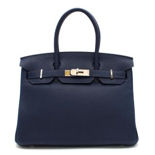 Hermes Blue Nuit Clemence Leather Birkin 30