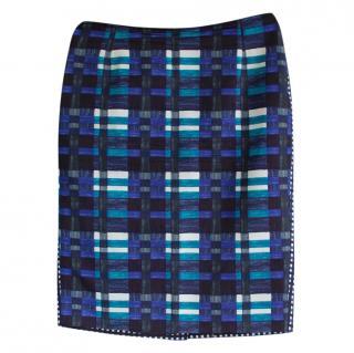 Max Mara Blue Printed Pencil Skirt