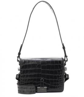 Off-White c/o Virgil Abloh Croc Embossed Binder Clip Flap Bag