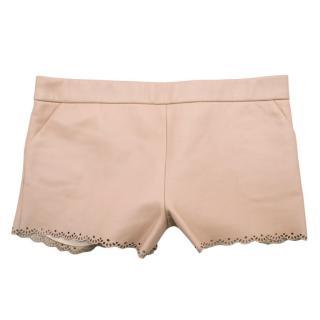 Marie Chantal Pink Leather Laser Cut Scallop Hem Shorts