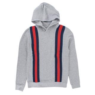 Gucci Kids 12Y Grey Web Stripe Hoodie