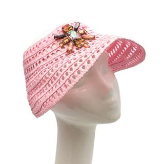 Louis Vuitton Pink Raffia Crochet Crystal Embellished Visor