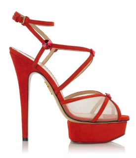 Charlotte Olympia Isadora Strappy Suede Sandals in Red