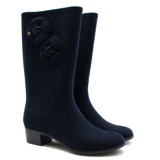 Chanel Blue Velvet Wellington Boots