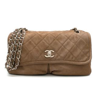 Chanel Quilted Flap Shoulder Bag in Brown Suede