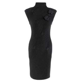 Valentino Grey Wool, Silk & Cashmere Ribbed Bow Applique Dress