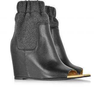 MM6 Maison Margiela Leather Wedge Sock Boots