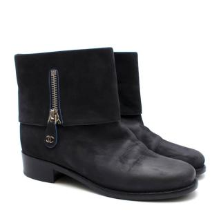 Chanel Navy Suede Fold Over CC Boots