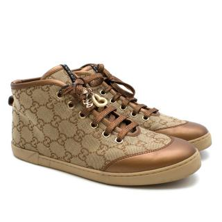 Gucci Monogram High Top Sneaker with Glitter Tone Laces