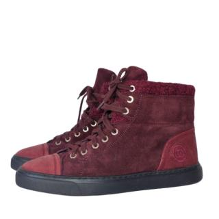 Chanel Burgundy Suede & Tweed High-Top Sneakers