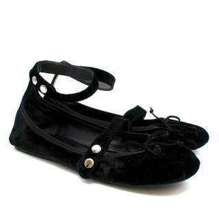 Prada Black Velvet Ballerinas w/ Ankle Strap