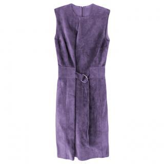 Celine Lavender Suede Belted Sleeveless Dress