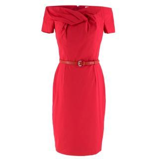 Christian Dior Pink Belted Off-Shoulder Dress