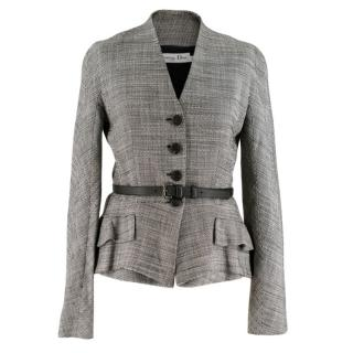 Christian Dior Black & White Silk-Wool Blazer