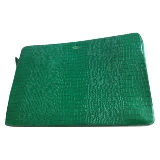 Smythson Emerald Green Croc Embossed Laptop Case