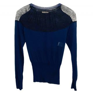 Nina Ricci Blue Silk Lace Panelled Top