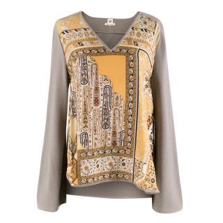 Hermes V-Neck Silk & Alpaca Sweater