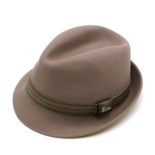 Gucci Brown Rabbit Fur Leather Trimmed Felt Trilby