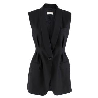 Dries Van Noten Black Sleeveless Tailored Jacket