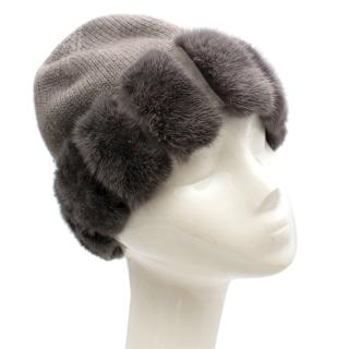 Loro Piana Cashmere Hat with Mink Fur Trim