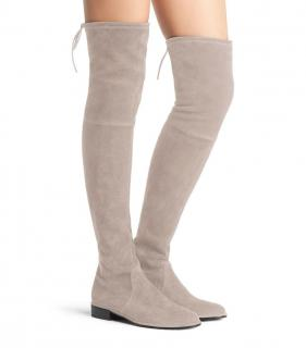 Stuart Weitzman Lowland OTK Boots in Pebble Light Beige