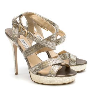 Jimmy Choo 'Vamp' Glitter Platform Sandals
