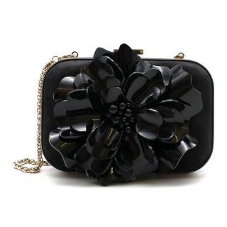 Gucci Black Suede Clutch with Patent Flower Applique