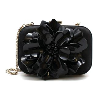 Gucci Black Suede Clutch with Patent Flower Applique
